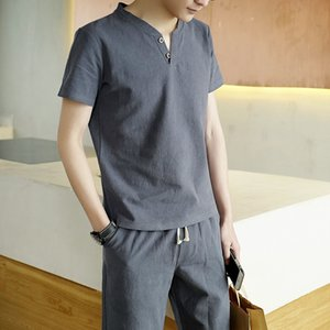 2021 New Summer Mode 2 Parts Defines Linen and Cotton Sets T-shirt with Shorts Pants From Men's Casual T-shirts Masculine Shirt Usop