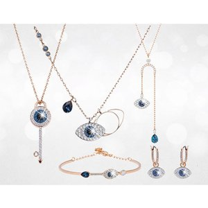 Shi Family Devil's Eye Bracelet Earrings Clavicle Chain Swarovski Element Crystal Necklace Head