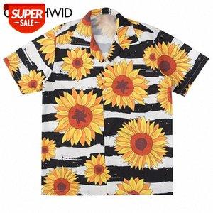 Дизайнер подсолнечника цветы принт с коротким рукавом полоса гавайский пляж алоха рубашки летние повседневные топы стритюва мужчины хип-хоп рубашка # ES9N