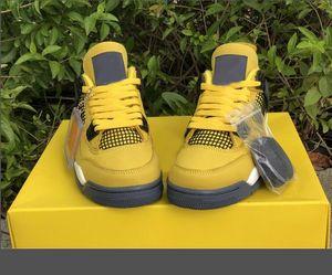 2021 Новейшие 4 Thunder Tour Спортивные Обувь CT8527-700 Высочайшее Качество Желтый Многоцветный Открытый Кроссовки Размер 7 ~ 13 С Оригинальной коробкой