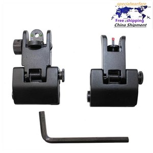 Rear Backup Front Flip Up Sights Fold Iron Sights for the Armpicatinny Weaver Rails with Red, Green Fiber Optic