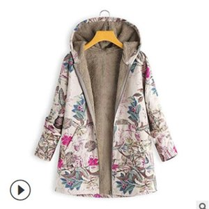 Cotton clothing women's Cotton hemp Hooded Coat sweater plush new printed top women's wear