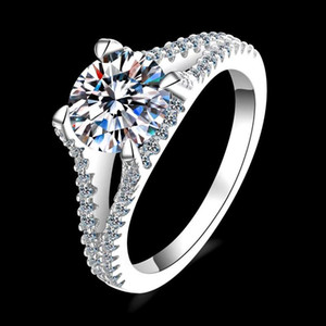 Luxury 925 Silver 2 Excellent Cut D Color Pass Diamond Test Mossanite Party Ring