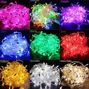 10m 100leds LED lâmpada de corda AC220V AC110V 9 Cores Festoon Lâmpadas à prova d 'água Festa de festa de festa de festa de Natal