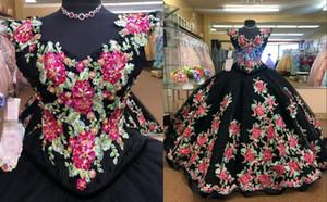 Sexy 3D Floral Flowers Black Satin Wedding Dresses 2021 A line Cap Short Sleeves Pearls Beaded African Wedding Bridal Gowns Vestido De Novia