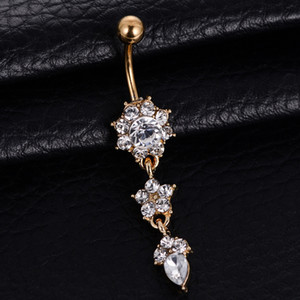 1PCS Crystal New Bell Fashion Sexy Button Dangle Flower Rings Piercing Navel Body Jewelry OAHK