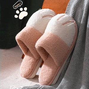 Cute Cat paw Designer Bedroom Indoor Women Furry Slippers Winter House Warm Fur Slipers For Women Warm Plush Shoes Non-slip 210225