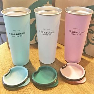 New Starbucks 1971 Mint green stainless steel desktop coffee cup Outdoor sports Vacuum cup Tumbler gift 16oz