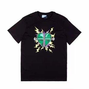 21ss Италия Париж прохладный хлопок любви мужские футболки красочные с коротким рукавом мягкая буква напечатают круглые шеи женщины размер S-XL ZDLP0708.