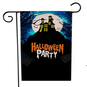 Halloween Linen Yard Garden Flag Trick Treat Ghost Happy Garden Decoration Flags For Outdoor Double-sided Decorative Yards 9 Style HWF8789