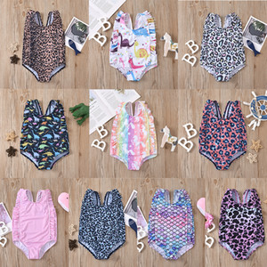 Children Dinosaur leopard stripe Mermaid Swimwear cartoon baby girls ruffle swimsuit 2021 summer Bikini Sun protection Kids One-piece Z2488