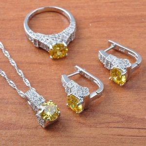 2020 Silver Color Jewelry Sets Cubic Zirconia Wedding JewelryYellow Crystal For Women Necklace Pendant Earrings Ring JS0602