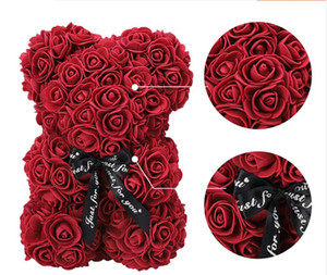Artificial Foam PE Rose Flower Bear Toys Stuffed Full Of Love Romantic Bear Doll Cute Valentine's Day Gift