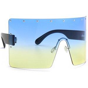 New Big Frame One-piece Sunglasses Retro Fashion Brand Design Sun Luxury Gradient Glasses Frameless Goggles 2020 Oculos
