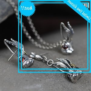 Bocai Real S925 Pure silver Jewelry Big ear Bunny Pendan Woman Literary Asymmetric Style Earrings