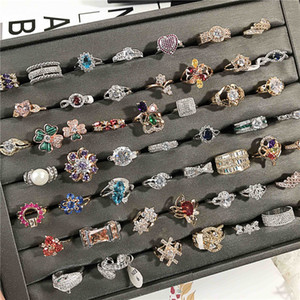 20pcs lot Charm Full Zircon Crystal Engagement Ring Fashion Ladies Ring Diamond Wedding Rings For Women Gift Party Jewelry