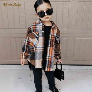 Fashion Baby Girl Plaid Shirt Jacket Cotton Warm Child Thick Loose Outfit Oversized Winter Spring Fall Clothes 3-14Y 210802