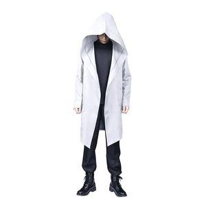 Men's Trench Coats 2021 Fashion Halloween Men Jackets Vintage Retro Zipper Long With Hood Streetwear Jaquetas