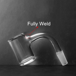 Newest Fully Weld Quartz Banger 2.5mm Thick OD 25mm 10mm 14mm Male Joint 45 90 Degree Beveled Edge Seamless Banger Nails