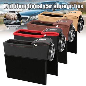 Car Organizer Console Seat Side PU Leather Storage Box Filler B88