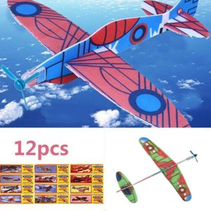 12Pcs Hot DIY Hand Throw Flying Glider Planes Foam Airplane Party Bag Fillers Children Kids Toys Game L0306
