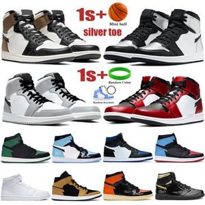 Новые мужские баскетбольные кроссовки Jumpman 1s High Satin Snake OG TOKYO, светло-серые, черные, металлик, золотые, мужские и женские кроссовки