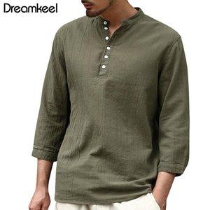 2021 Fashion T-shirts Mens Long Sleeve Henley Shirts Plain V-Neck 3 4 Sleeve Spring Autumn Shirts Male Tee Tops Three Quarter Y