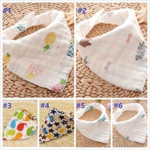 8 layers Baby Newborn INS print Bibs Infant Triangle Scarf Toddlers muslin Cotton Bandana Burp Cloths 18 colors