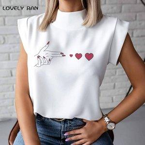 Sans manches Rose T-shirts Femme Heart Finger Print Collier Love Femme T-shirts Bureau Dame Casual 2021 Été Top Femmes