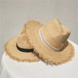 New Lafite straw hat in summer of 2019, foldable sunshade hat, top hat with rough edge, tassel and natural straw hat