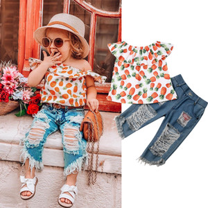 2PCS Baby Girls Toddler Pineapple Clothes Kids Off Shoulder Tops + Ripped Denim Shorts Outfits Set A-823