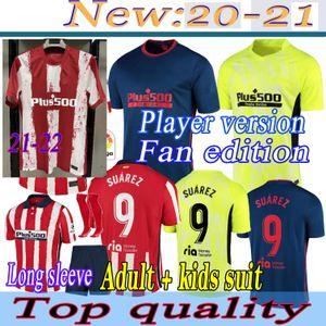 Joao Felix Atletico Madrid Soccer Jerseys 2122 2021 Saul Camisetas Suarez Llorente Correa Camicia da calcio Mens Breve lungo Jersey Kit bambini Kit