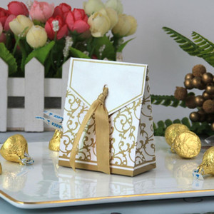 New 10pcs Creative Golden Silver Ribbon Wedding Favours Party Gift Candy Paper Box Cookie Candy gift bags Event Party Supplies EWA3767