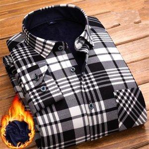 Erkek Casual Gömlek Bahar Kış Erkek Uzun Kollu Ekose Sıcak Kalın Polar Çizgili Gömlek Moda Yumuşak Flanel Erkek Artı Boyutu L-4XL