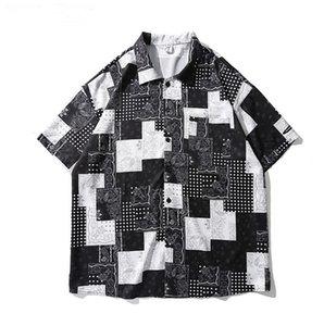 2021 NUEVO Kiryaquy Men Paisley Costa Oeste Crips Bloods Moda Algodón Casual Camisetas Camisa de alta calidad Mangas cortas de bolsillo # D23 JFDA
