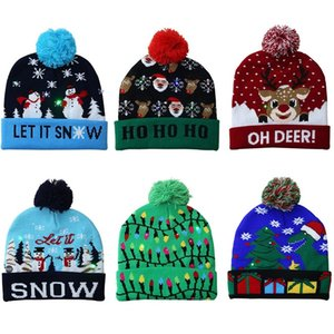 LED Christmas Hat Sweater Knitted Beanie Light Up Knitted Hat Gift Xmas New Year Party Supplies T2I52815