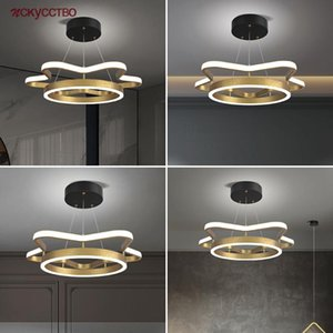Pendant Lamps 2021 Postmodern Geometry Gold Ring Led Lights Minimalism Home Deco Living Room Hallway Hanging Lamp Kitchen Fixture