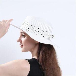 Women Beach Hat Straw Hats Woman Sun Protection Cap Girls Wide Brim hat polka dot bowknot caps Lady Fashion Travel Chapeau Spring Summer NEW