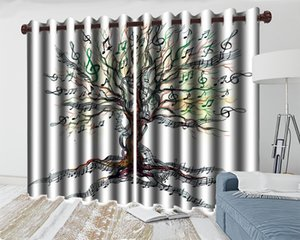 3d European Style Curtains Simple Musical Note Tree 3d Modern Blackout Curtain Living Room Bedroom Beautifully Decorated Curtain