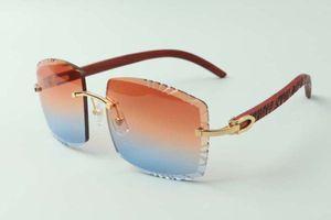 2021 Новый стиль Высококачественные дизайнеры Солнцезащитные очки 3524022, Высококачественная резки объектив натуральный тигр Деревянные храмы очки, размер: 58-18-135 мм