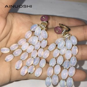 AINUOSHI 14K 18K Gold Oval Shaped Moonstone Drop Tassel Earrings for Women Party Travel Unique Elegant Gemstone Earrings 0308