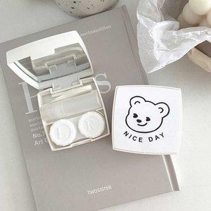 Корейская версия Ins Insly Leavy Contact Contact Square Простые маленькие свежие портативные очки спутника двойной коробку