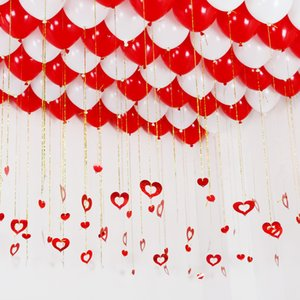 100pcs Balloon Heart-shaped Sequined Pendant Decor Balloon Accessories Wedding Room Decoration Birthday Party Wedding Supplies