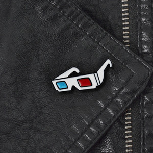 Metal fashion trendsetter versatile bag jacket decoration 3D glasses sunglasses oil dripping brooch jewelry