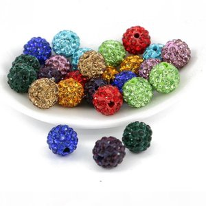 Mix Color Shamballa loose ball beads Half Drilled 6 Rows Rhinestone Ploymer Clay Disco Ball Beads 100pcs bag