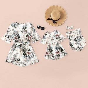 2021 New Summer Family Matching Clothes Dress Floral Ruffles Bow with Sashes Mom and Baby Girl Matching Clothes E0206