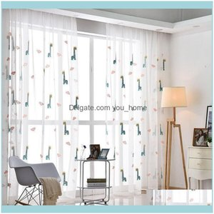 Deco El Supplies Home Gardenfashion Simple Embroidered Window Screen Cartoon Childrens Room Living Bedroom Curtains Curtain & Drapes Drop De