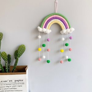 Nordic Wall Decor hand Woven Rainbow Hang Ornaments Kids Room Decoration Pendants fur ball Crafts Rainbow Hanging Nursery Decor M3340
