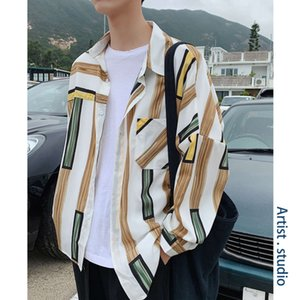 Korean striped spring trend casual printed inch shirt men's lovers' jacket