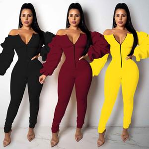 Autumn and winter new women's long sleeve Jumpsuit sexy zipper high waist slim Jumpsuit